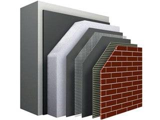Steenstrips op isolatie: Doorsnede van het Sto Therm Brick-concept van Sto en Wienerberger